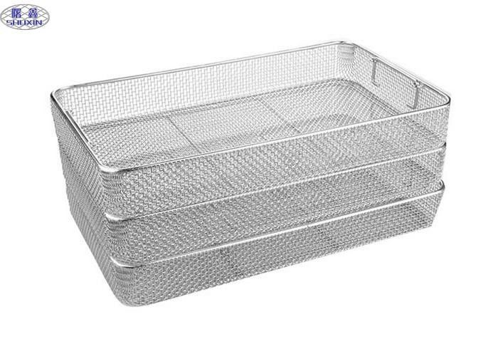 Anti Corrosion Rectangular Wire Mesh Basket Stainless Steel Medical Containers