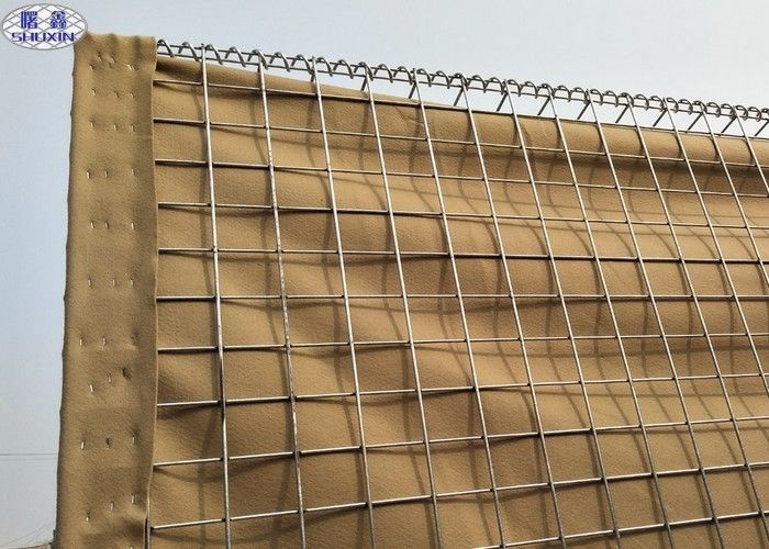 Welded Wire Mesh Military Hesco Defensive Barriers With Geotextile Cloth